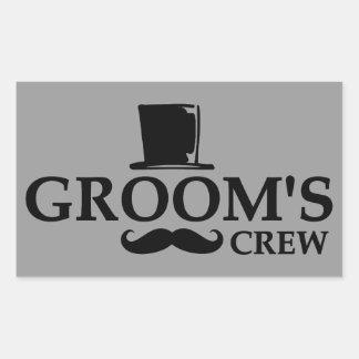 Mustache Groom's Crew Rectangular Sticker