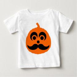 Baby Fine Jersey T-Shirt with Halloween Mustache Pumpkin Jack-O-Lantern design