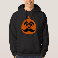 Halloween Mustache Pumpkin Jack-O-Lantern Men's Basic Hooded Sweatshirt