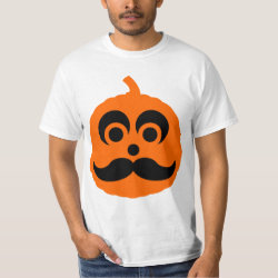 Men's Crew Value T-Shirt with Halloween Mustache Pumpkin Jack-O-Lantern design