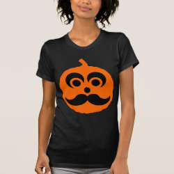 Women's American Apparel Fine Jersey Short Sleeve T-Shirt with Halloween Mustache Pumpkin Jack-O-Lantern design
