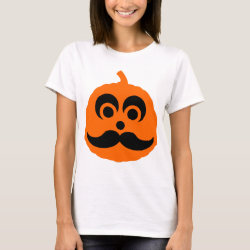 Women's Basic T-Shirt with Halloween Mustache Pumpkin Jack-O-Lantern design