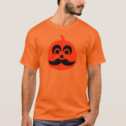 Men's Basic T-Shirt with Halloween Mustache Pumpkin Jack-O-Lantern design