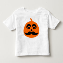 Toddler Fine Jersey T-Shirt with Halloween Mustache Pumpkin Jack-O-Lantern design