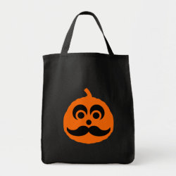 Grocery Tote with Halloween Mustache Pumpkin Jack-O-Lantern design