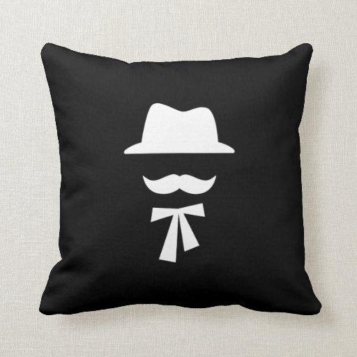 Mustache & Hat Pictogram Throw Pillow