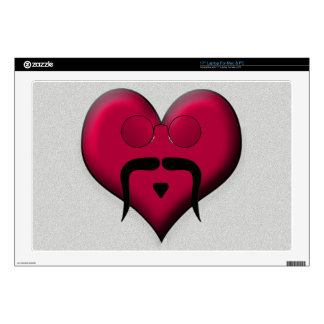 "Mustache Heart - Very Retro! Skin For 17"" Laptop"