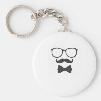 Mustache Hipster Bowtie Glasses Basic Round Button Keychain