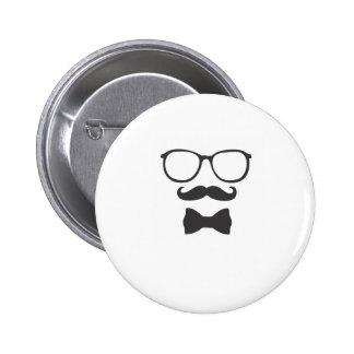 Mustache Hipster Bowtie Glasses Button