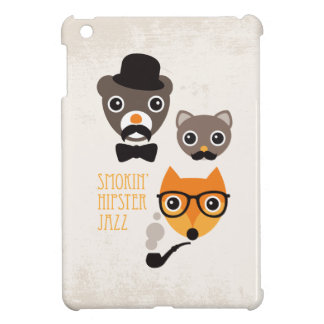 Mustache hipster fox cat and bear illustration cover for the iPad mini
