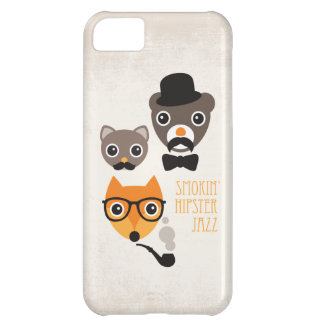 Mustache hipster fox cat and bear illustration iPhone 5C cover