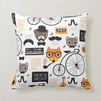 Mustache hipster fox cat and bear illustration throw pillow