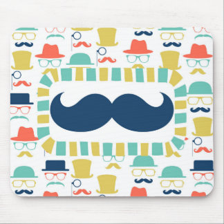 Mustache Hipster - Mens Boys Hats Glasses Mouse Pad