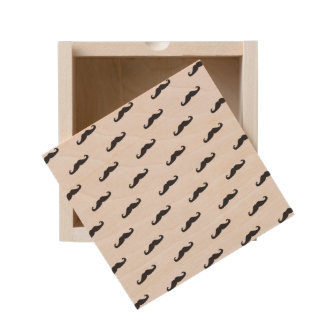 Mustache hipster pattern 2 wooden keepsake box