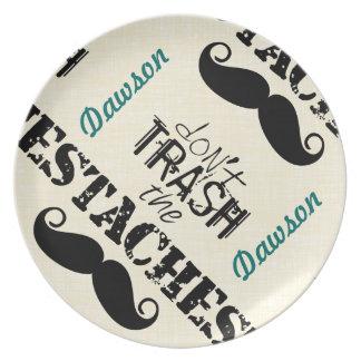 Mustache Hipster Retro Pattern Dinner Plate