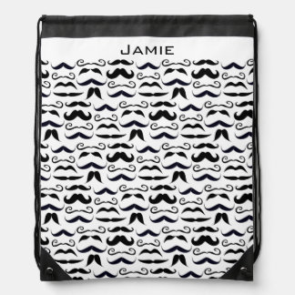 Mustache Hipster Retro Pattern Drawstring Backpack