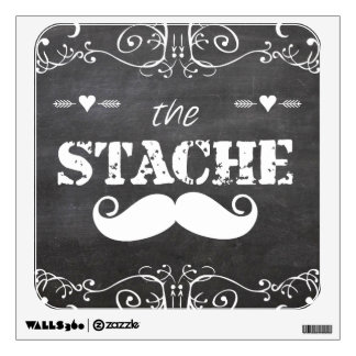 Mustache Hipster Retro Pattern Wall Decal