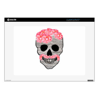 """Mustache hipster skull Pink Flowers Decals For 15"""" Laptops"""