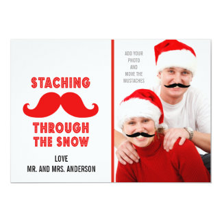 Mustache Holiday Greeting Photo Card
