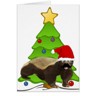 Mustache Honey Badger Santa Card