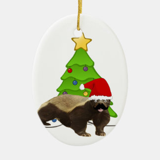Mustache Honey Badger Santa Ceramic Ornament