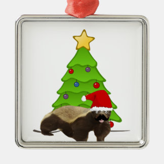 Mustache Honey Badger Santa Metal Ornament
