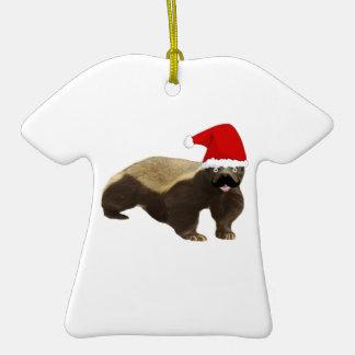 Mustache Honey Badger Santa Christmas Tree Ornament