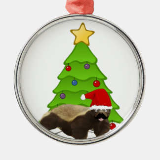 Mustache Honey Badger Santa Ornaments
