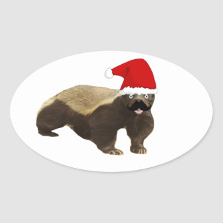 Mustache Honey Badger Santa Oval Sticker