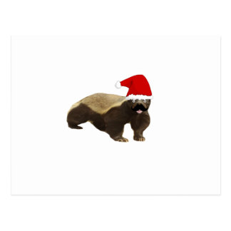 Mustache Honey Badger Santa Postcard