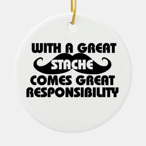 Mustache  humor Double-Sided ceramic round christmas ornament