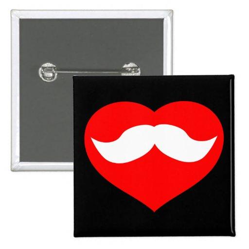 Mustache in Heart 2 Inch Square Button
