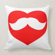 Mustache in Heart Pillow