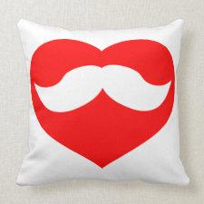Mustache in Heart Pillow