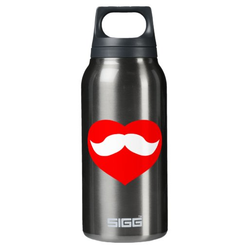 Mustache inside Red Heart Insulated Water Bottle