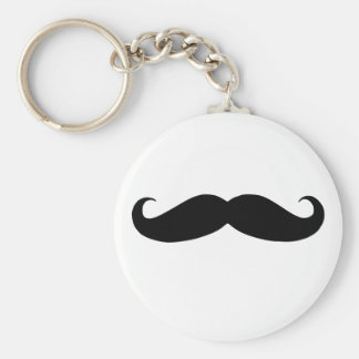 Mustache is funny basic round button keychain