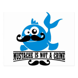 mustache is not a crime postcard