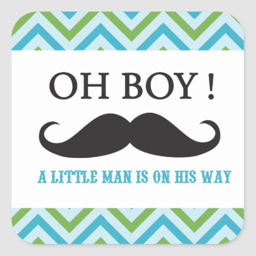 Mustache It's a Boy Baby Shower Stickers