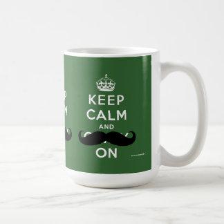 Mustache Keep Calm and Carry On | Green Coffee Mug