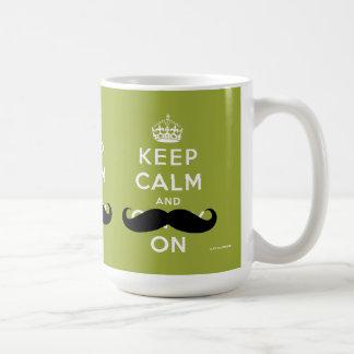 Mustache Keep Calm and Carry On | Light Green Coffee Mug