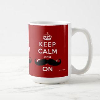 Mustache Keep Calm and Carry On | Red Coffee Mug