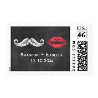 Mustache & Lips Bride & Groom Stamp