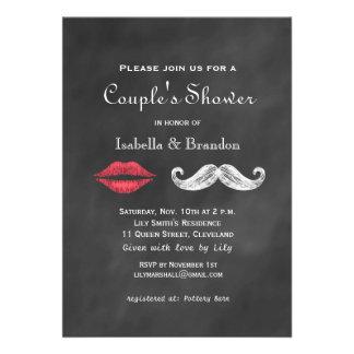 Mustache Lips Couple s Shower Invitation Announcement