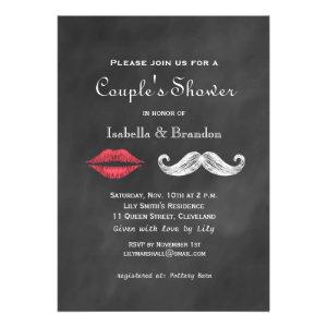 Mustache & Lips Couple's Shower Invitation Announcement
