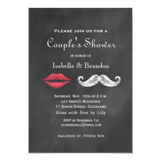 Mustache & Lips Couple's Shower Invitation