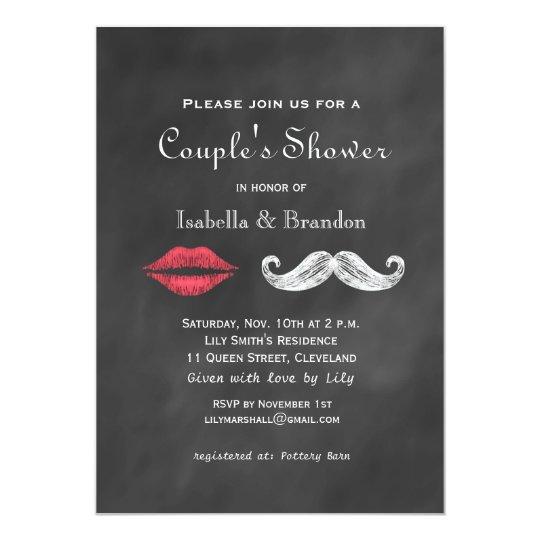 Mustache Lips Couple S Shower Invitation Zazzle Com