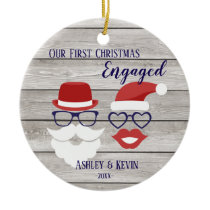 Mustache lips funny rustic 1st Christmas ornament