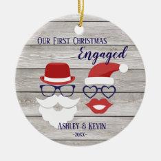 Mustache Lips Funny Rustic 1st Christmas Ornament at Zazzle