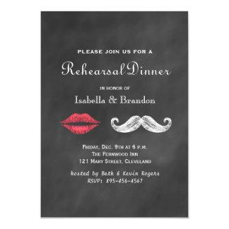 Mustache & Lips Rehearsal Dinner Invitation