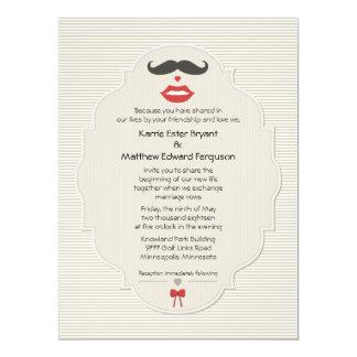 Mustache Lips Retro Wedding 6.5x8.75 Paper Invitation Card
